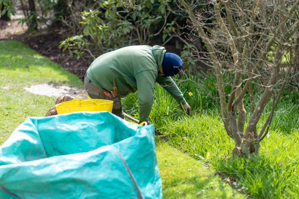 George gardening at Herstmonceux Castle